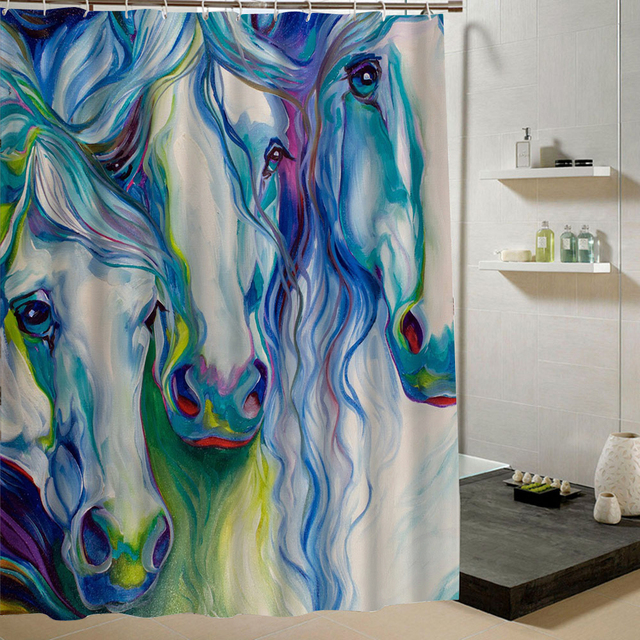 Watercolor Horse Shower Curtain Abstract 3d Print Animal Bathroom Blue White Pattern Waterproof Anti Mold