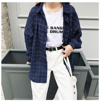 2019 New Woman Vent Vintage Plaid Shirt Single Breasted Turn down Collar Cotton Long Sleeve Button Feminina Sales T8D512Z 2