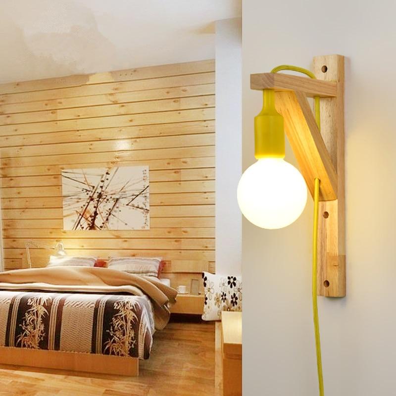 Applique murale en bois pour salon chambre à coucher Led économie d ...