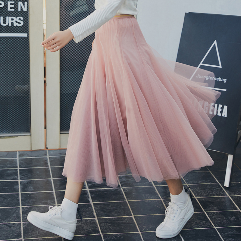 BeauSecret 2018 Summer New Womens Skirt Long Tulle Skirt Women Large Hem High Waist Tutu Pleated Skirts Black Pink