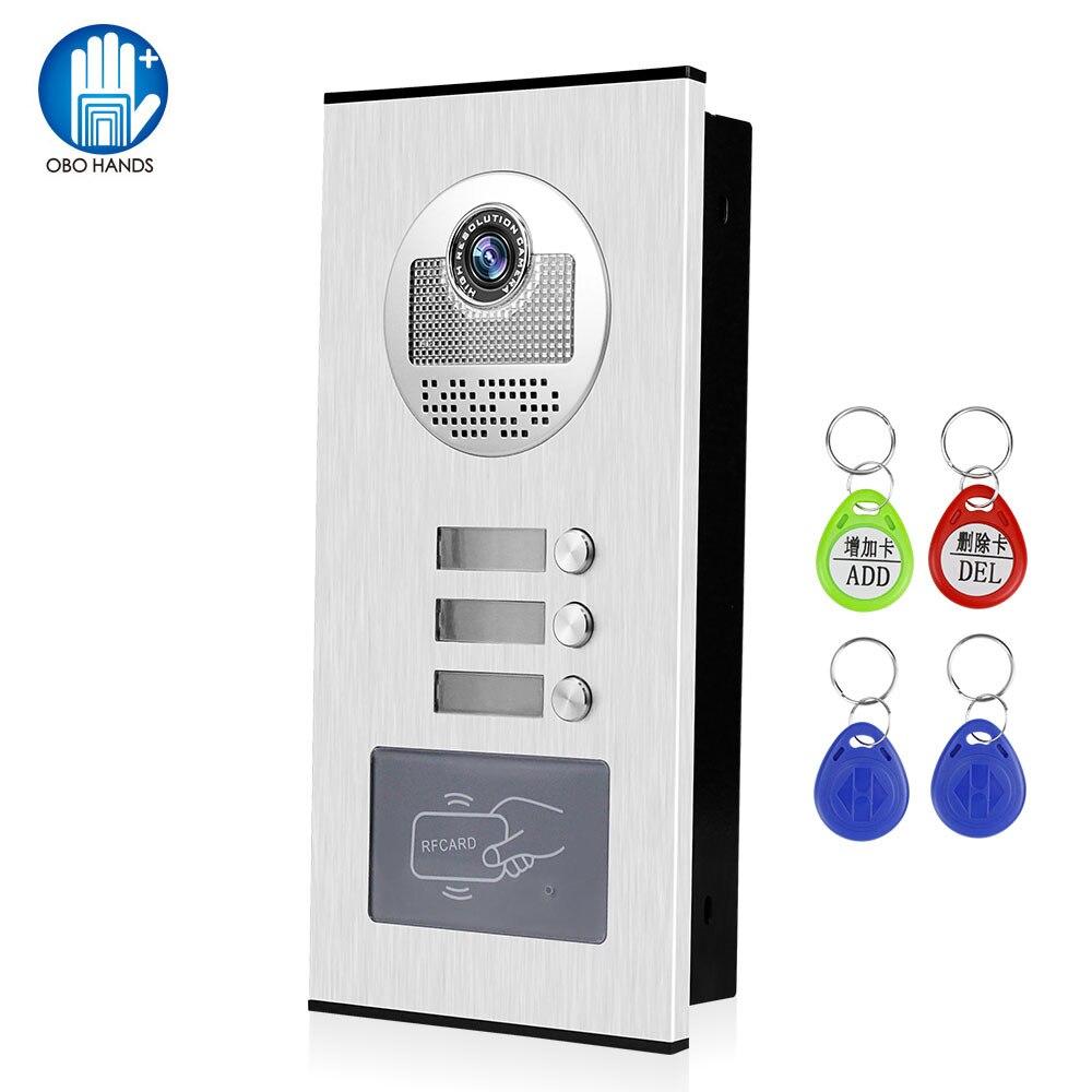 OBO Video Doorphone Intercom System Kit Video Camera Doorbell RFID Access Control Keyfobs Unlock For 2 Monitors 3 4 6 Apartments