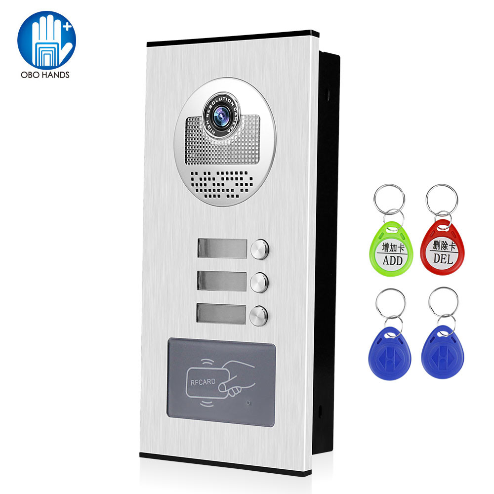 OBO Video Intercom System Kit Video Kamera Türklingel <font><b>RFID</b></font> Access Control Keyfobs Entsperren für <font><b>2</b></font> Monitore 3 <font><b>4</b></font> 6 wohnungen image