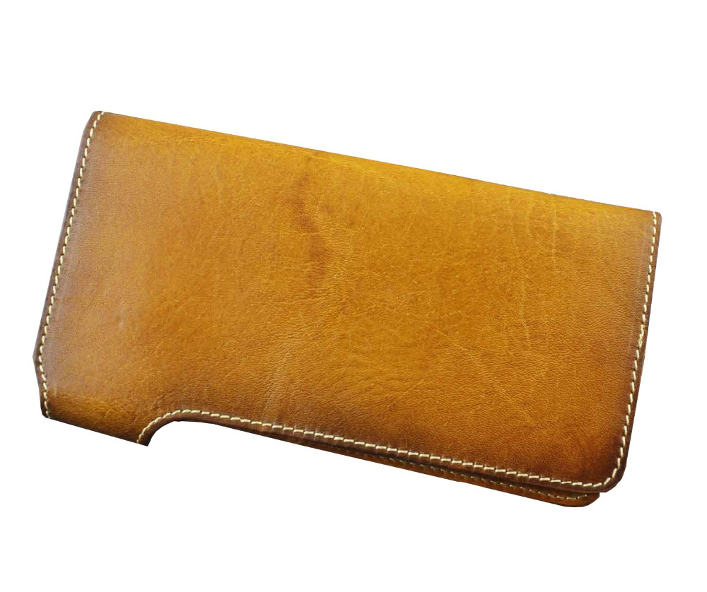 Expensive Genuine Leather Luxury ID Card Cash Long Wallet Purse Tan