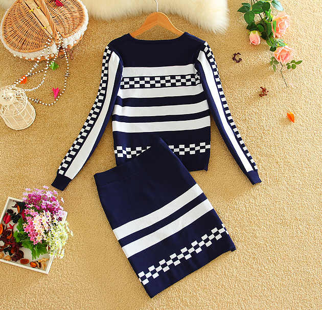 2019 Winter Long-sleeved Knitted Geometric Skirt Suits New Fall Women's Knit Sweater Tops and Skirt 2pcs Suits Black BLue Red