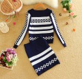 Alpha 2015 Winter Long-sleeved Knitted Geometric Skirt Suits New Fall Women's Tops and Skirt 2pcs Suits Black BLue Red