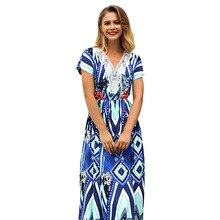 ARiby New Summer Fashion Women Dress Bohemia Short Sleeve A-Line Lace Ankle-Length Empire V-Collar Printed Vacation Beach Dress цена и фото