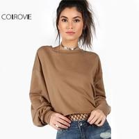COLROVIE Drop Shoulder Khaki Sweatshirt Lantern Sleeve Harajuku Hoodies 2017 Autumn Pullover Women Casual Cotton Sweatshirt