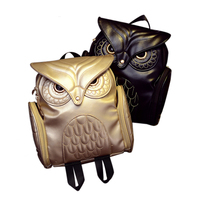 New Fashion Women Backpack Newest Stylish Cool Black PU Leather Owl Backpack Female 2017 Hot Sale