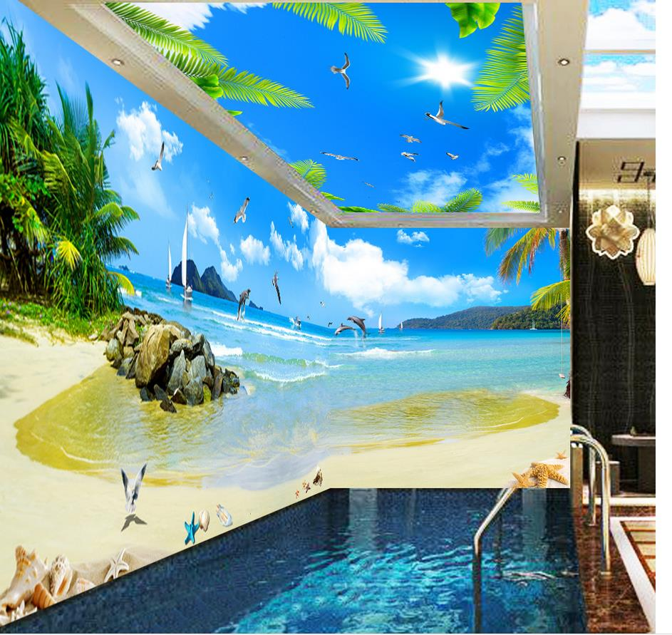 Photo wall mural wall decoration maldives seaview coconut for Mural 3d wallpaper