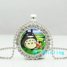 New My Neighbor Totoro Crystal Necklace Cute Totoro Pendant Glass Anime Picture Jewelry Silver Pendants Necklaces Ball Chain