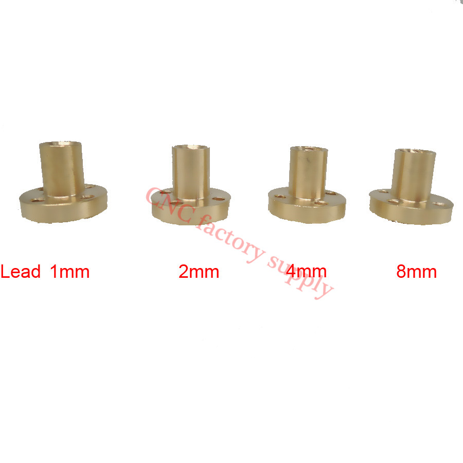 Free shipping 5pcs T8 trapezoidal screw nut brass copper nut pitch 1mm  lead 1mm l440mm screw rod with feed screw nut m18x 1mm tooth pitch used in wire winding drum of mingzhu bright pearl wire edm machines