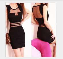 Fashion Midi Bodycon Patchwork Voile Sexy 2016 New Women's Summer Mini Dress Sleeveless O-neck Solid Color Club Dress Clothes