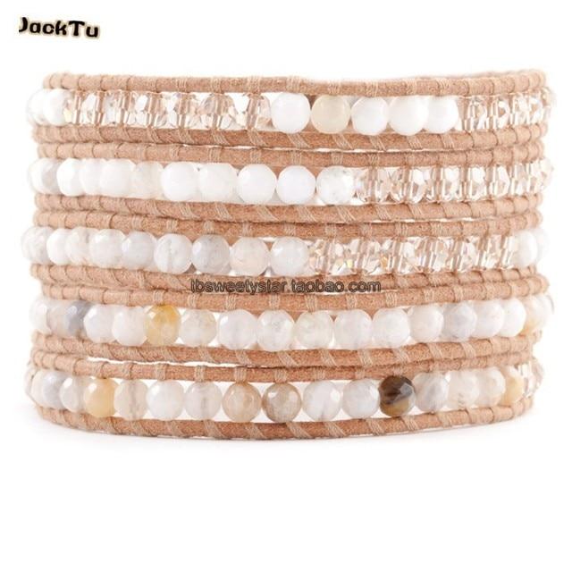 2017 women white opal mixed clear crystal beige leather wrap bracelet