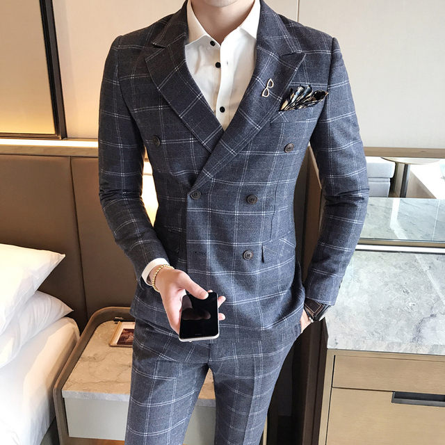 45eebdef08 Double Breasted Suits Mens Plaid Stylish Suits Mens Slim Fit 2 Piece Mens  Dinner Jackets Formal Wear Wedding Groom Prom Club