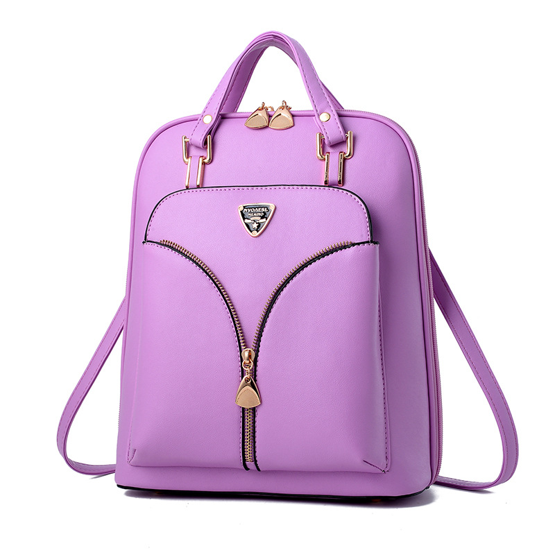 PU Zipper Backpack for Teenagers Girls School Bag for Women 2017 Casual Travel Back Pack Female Fashion Bookbags pair of retro turquoise arrow earrings for women