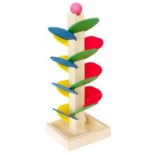 1 Set Blocks Wooden Tree Marble Ball Run Track Game Kids Children Intelligence Wooden Montessori Educational Toys