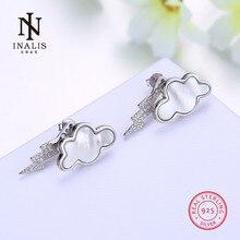 Inalis темно-облака Дизайн белое золото прекрасно Серьги-гвоздики Циркон 925 серебро романтический подарок для Женское вечернее платье