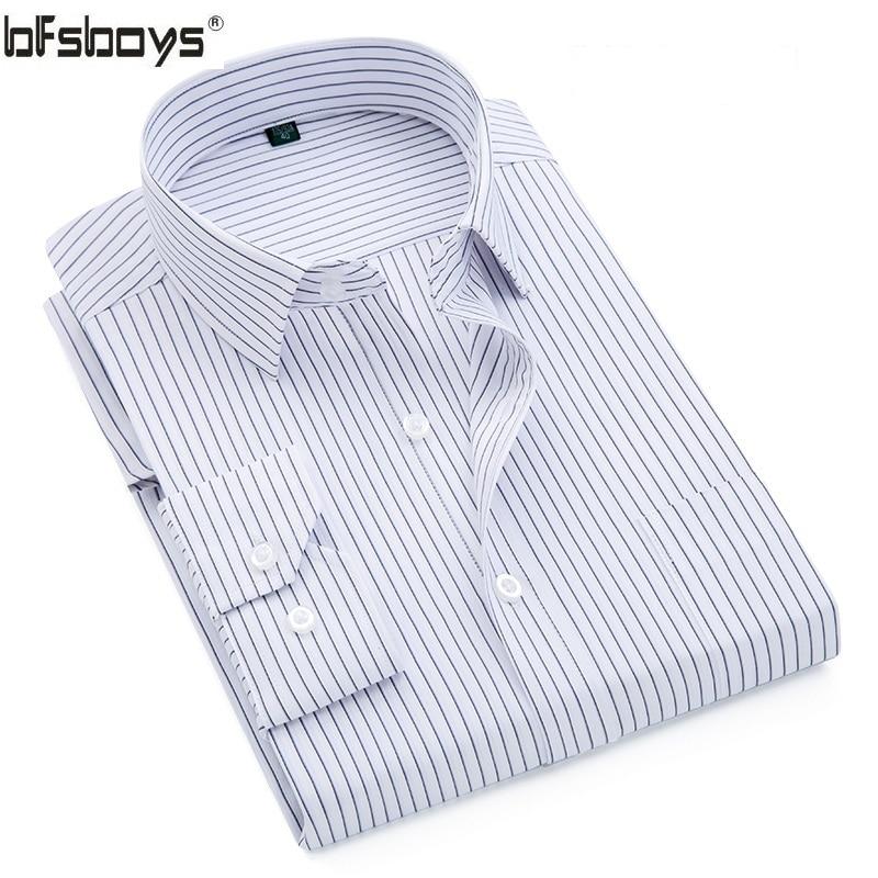 BFSBOYS 2017 Classic Striped Men Dress Shirts Long Sleeve Business Formal Shirts Male Casual Shirts Camisa
