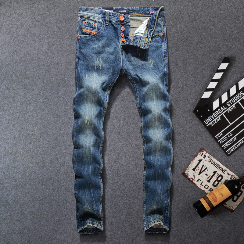 2019 High Quality Fashion Men Jeans Brand Ripped Jeans For Men Patchwork Pants Straight Slim Fit Distressed Hole Jeans Men