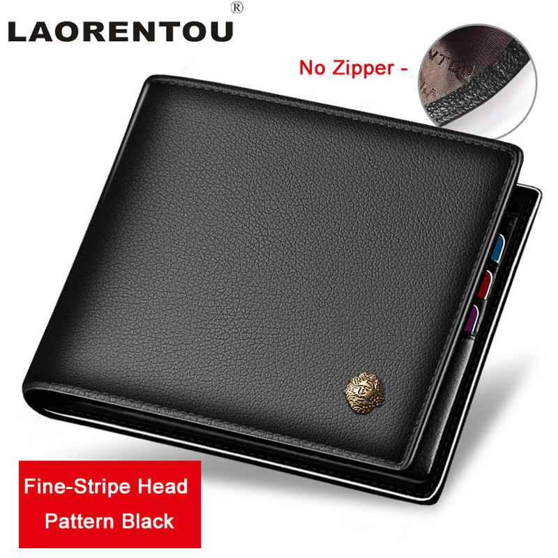 Laorentou 100% Genuine Leather Wallet Men Short Wallet Vintage Cow Leather Casual Men Wallet Purse Standard Brand Wallets N52