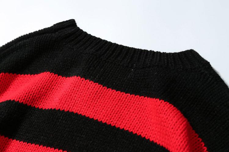 Ripped Stripe Knit Sweaters 7