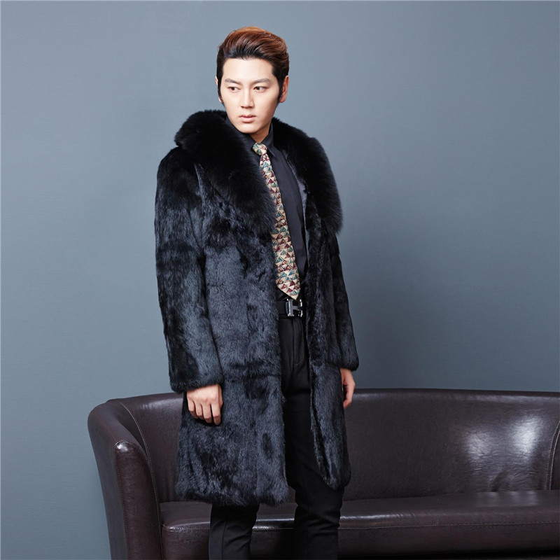 Long 100 cm plus size natural rabbit fur coats outerwear men real fox fur collar full sl ...