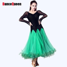 Ballroom Dance Dress Rose/Green/Blue Kaka Dance Jazz/Tango/Waltz Dance Costumes For Shows Vestidos De Baile De Salon