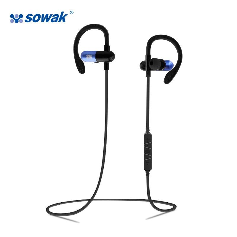 Sowak W1 Noice Annulation Écouteurs Sans Fil Bluetooth 4.1 Casque Aptx HiFi 3D stéréo avec mic sport crochet d'oreille pour téléphone