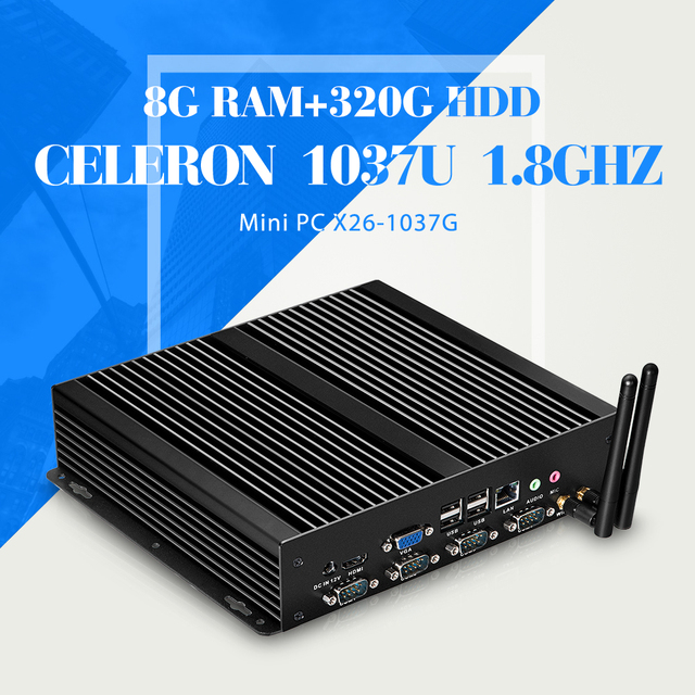 Горячая распродажа мини-компьютер celeron C1037U 8 г оперативной памяти 320 г hdd виртуальный рабочий стол тонкий клиент портативный компьютер 4 * com с wi-fi