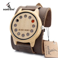 BOBO BIRD 12H06 Mens Watches Top Brand Luxury Antique Round Bamboo Wooden 12 Holes Quartz Watches