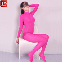 MEISE Ice Silk See Through Shaping Bodysuit Sheer Open Crotch Pantyhose Teddies Catsuit Full Body Bodystocking Plus Size F70
