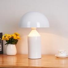 купить Nordic Design White Mushroom Led Iron Table Lamps Lights Living Room Bedroom Bedside Study Desk Lamps Lighting Luminaire по цене 6662.27 рублей