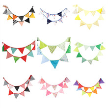 12 Flags 3.2m Artificial Cotton Fabric Bunting Pennant Flags Banner Garland Wedding/Birthday/Baby Show Home Party Decoration