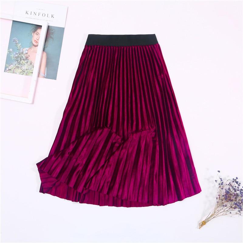 Женская винтажная осенне-зимняя бархатная юбка с высокой талией, элегантные сексуальные обтягивающие черные плиссированные юбки, женские макси юбки, женские s - Цвет: 2 Rose Red