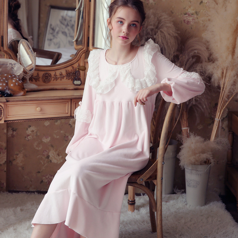 Victorian Night Dress Autumn Sleepwear Lace Pink Blue Long Nightgowns Sleepshirts Comfortable Homewear Elegant Sleepdress