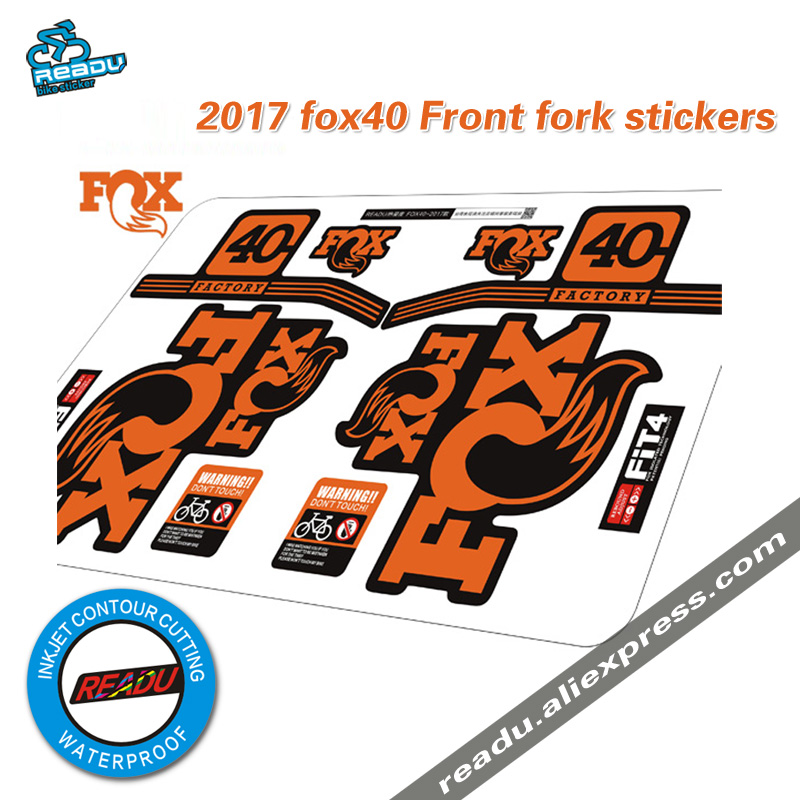US $13 8 |2017 fox factory 40 front fork stickers for mountain bike race  cycling dirt decals fox40 decals-in Bicycle Stickers from Sports &