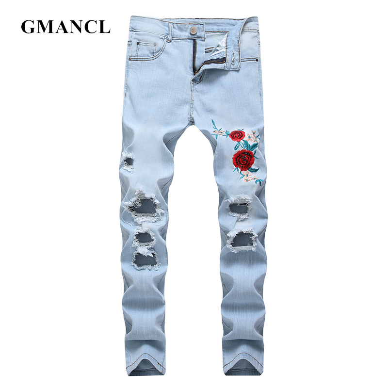GMANCL Mens Rose embroidery knee Ripped Straight Jeans Destroyed Skinny Hip Hop Holes streetwear male jeans stretch Denim pants