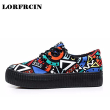 Canvas Shoes Platforms Lace Up Women Casual Shoes Mixed Colors Women Flats Comfortable Chaussure Femme Zapatos Mujer LORFRCIN