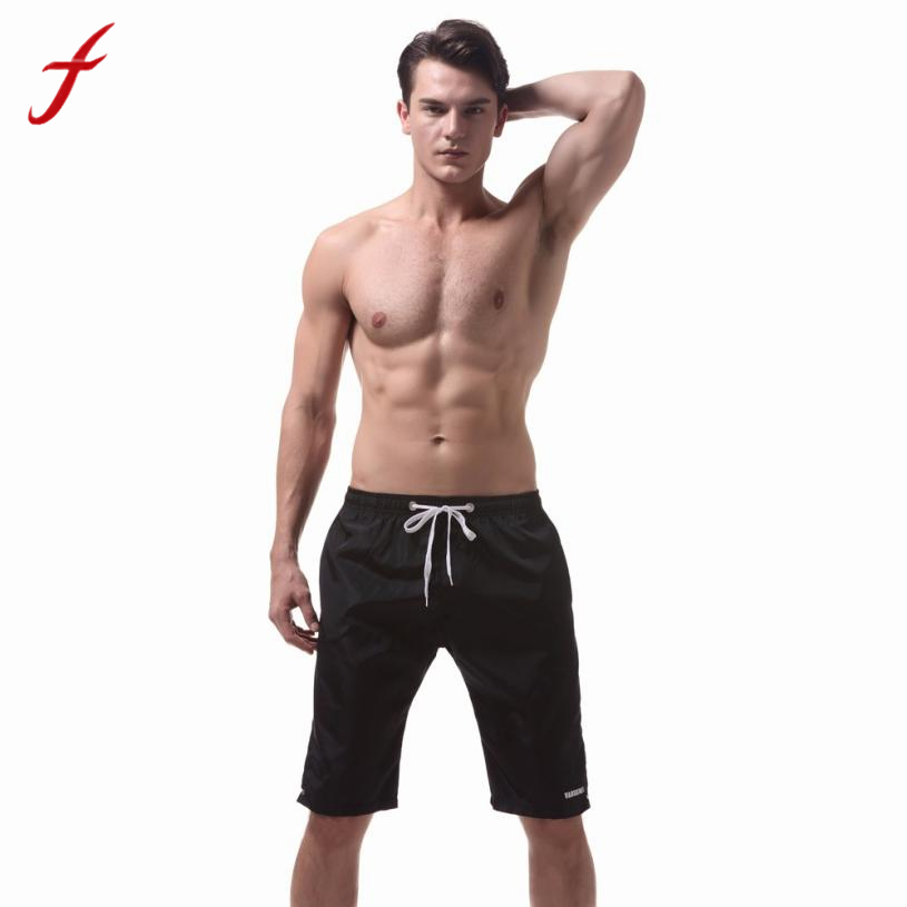 Feitong Mens Shorts Summer Quick Dry Bermuda Shorts Mid Elastic Waist Gyms Fitness Clothing Cossfit Bodybuilding Short Pants