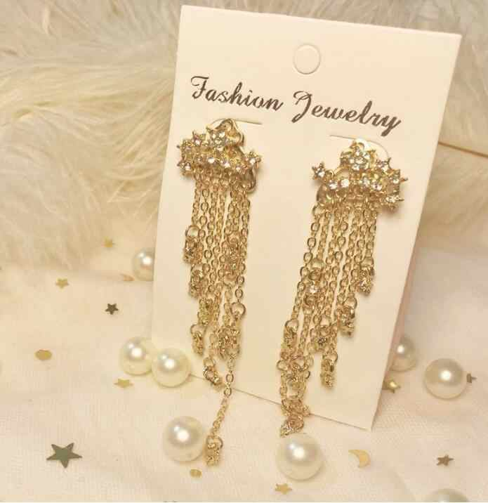 Ed 0188 1 par de moda feminina ouro estrelas aerodinâmica longo borla brincos de cristal feminino meninas pingente wom