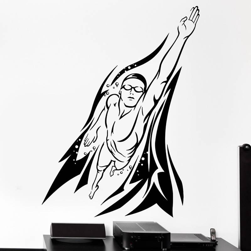 65a7b55a6 DCTAL السباحة ملصق شعار اسم السباح صائق السباحة الملصقات الفينيل جدار  الشارات Pegatina كوادرو Parede ديكور جدارية السباحة ملصقا