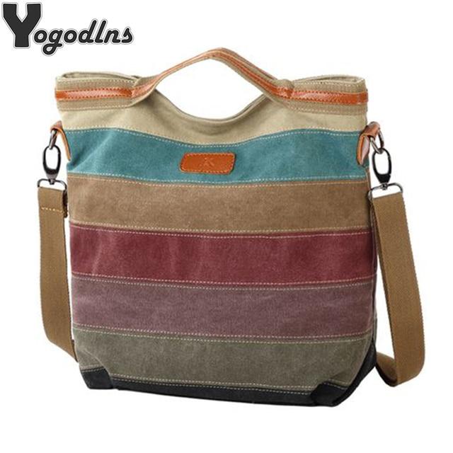 Hot Sale Striped Printed Casual Bag Women Canvas Beach Bags Female Single Shoulder Handbags Ladies Large Capacity Tote