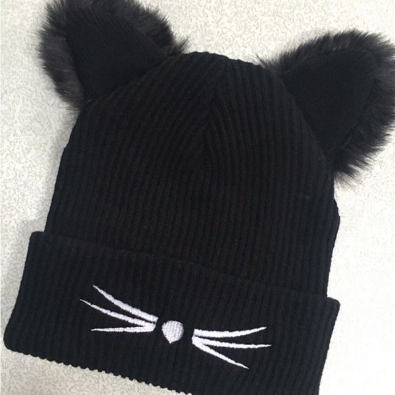 BONJEAN Women Thick Wool Knitted Beanie Hat Cat Ear Cap Winter warm 2 Layer Black Hats Skullies Pompom Caps Bonnet Femme wool hat women warm winter hats solid flower thick knitted lady beanies hat skullies bonnet femme bucket cloche winter cap 2017