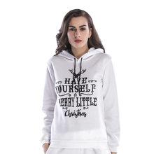 bd128304fb3 Femmes Imprimé hoodies Sweat De Noël Cerfs Manches Longues À Capuchon Lâche  Blouse Casual Tops Sweatshot femelle Moletom feminin.