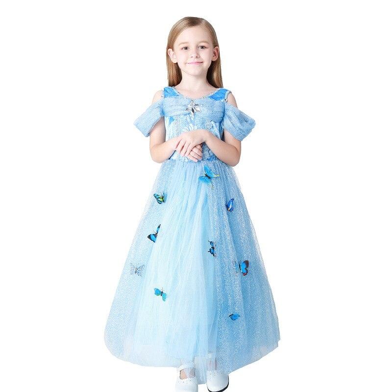 Дети показывают служить шесть одну программу одежда для сцены Юбки для женщин девочек Вечернее платье Небесно-Синее платье покроя «принцес...