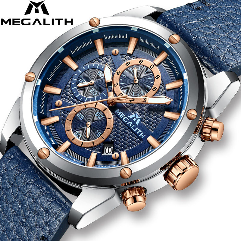 MEGALITH Men Sports Watch Military Chronograph Waterproof Reloj Hombre 2019 Leather Strap Quartz Watch For Men Relogio Masculino|Quartz Watches| |  - title=