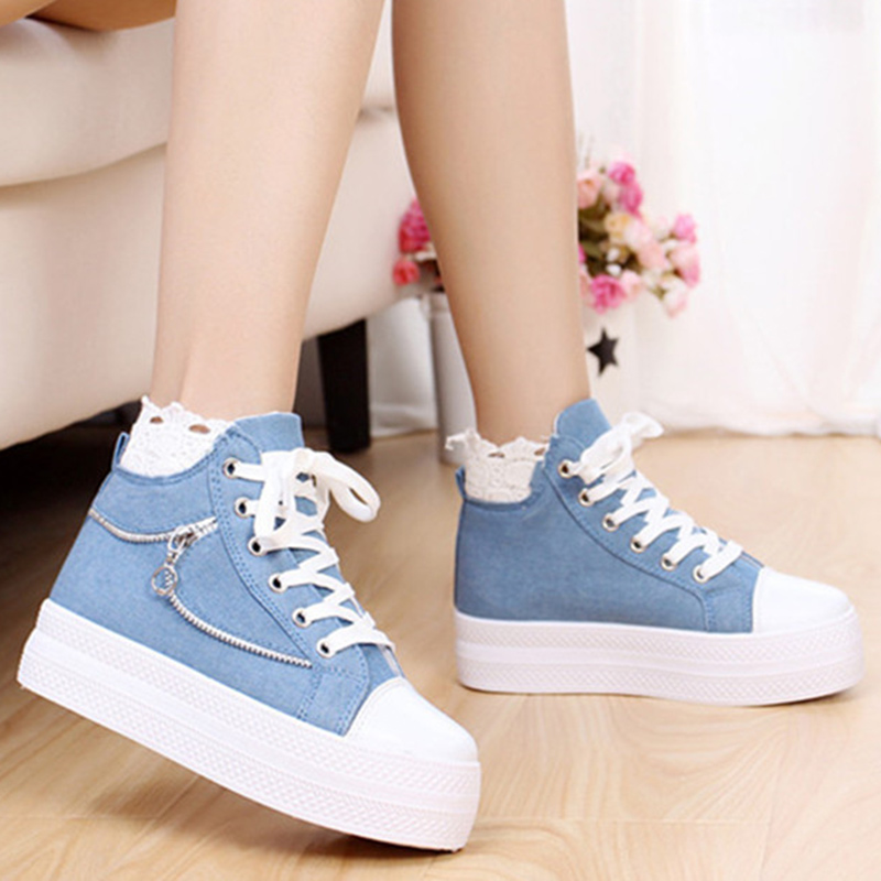Increasing casual shoes woman lace-up zipper high top sneakers women denim superstar shoes solid cotton fabric platform shoes