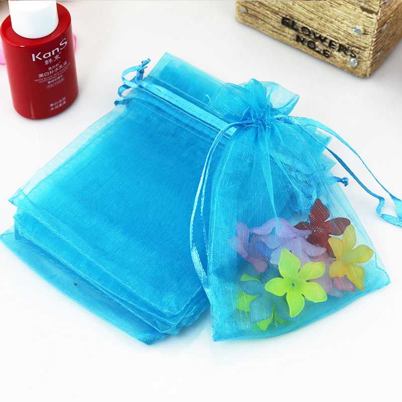 Wholesale 500pcslot Lake Blue Organza Bag 5x7cm Mini Charms Ring Earring Display Jewelry Packaging Bag Cute Organza Gift Bag