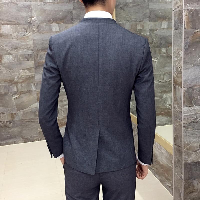 2017 nova korejska poročna obleka stojalo ovratnik suknjič moški - Moška oblačila - Fotografija 5