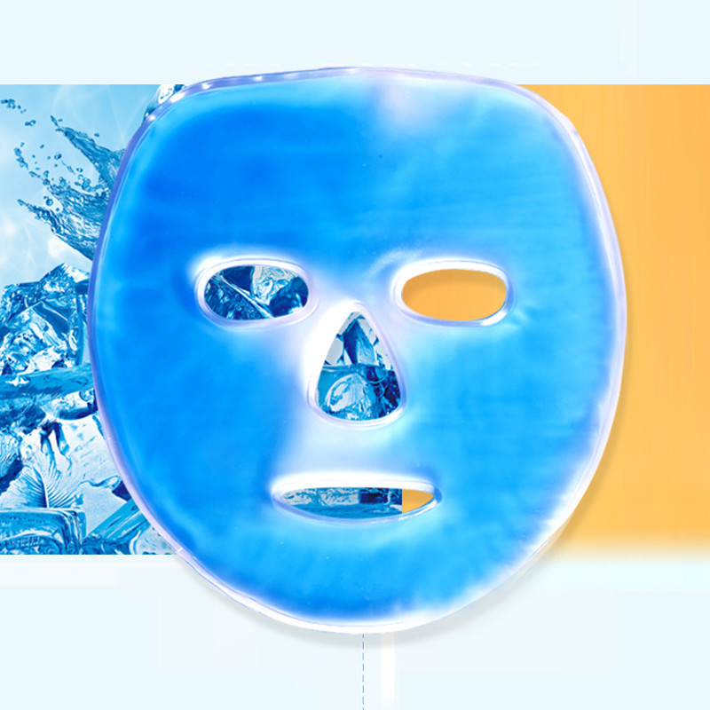 Cold Gel Face Mask Ice Compress Blue Full Face Cooling Mask Anti-Fatigue Relief Pad With Cold Pack Facial Care Tool